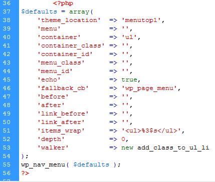 Mã lệnh tạo menu ngoài theme